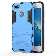 Custodia Silicone e Plastica Opaca con Supporto per Huawei Y6 Pro (2017) Blu