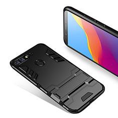 Custodia Silicone e Plastica Opaca con Supporto per Huawei Y7 (2018) Nero
