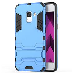 Custodia Silicone e Plastica Opaca con Supporto per Samsung Galaxy A5 (2018) A530F Blu