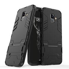 Custodia Silicone e Plastica Opaca con Supporto per Samsung Galaxy A6 (2018) Dual SIM Nero