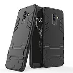 Custodia Silicone e Plastica Opaca con Supporto per Samsung Galaxy A6 Plus (2018) Nero