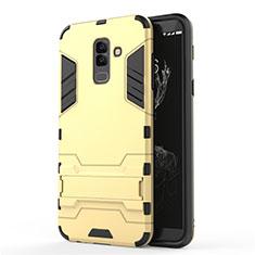 Custodia Silicone e Plastica Opaca con Supporto per Samsung Galaxy A6 Plus (2018) Oro