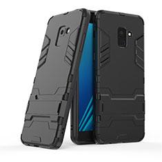 Custodia Silicone e Plastica Opaca con Supporto per Samsung Galaxy A8+ A8 Plus (2018) Duos A730F Nero