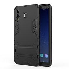 Custodia Silicone e Plastica Opaca con Supporto per Samsung Galaxy A9 Star SM-G8850 Nero