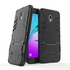 Custodia Silicone e Plastica Opaca con Supporto per Samsung Galaxy Amp Prime 3 Nero