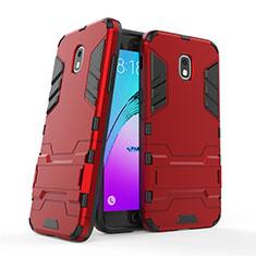 Custodia Silicone e Plastica Opaca con Supporto per Samsung Galaxy Amp Prime 3 Rosso