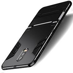 Custodia Silicone e Plastica Opaca con Supporto per Samsung Galaxy C8 C710F Nero