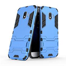 Custodia Silicone e Plastica Opaca con Supporto per Samsung Galaxy J2 Pro (2018) J250F Blu