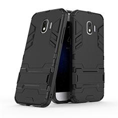 Custodia Silicone e Plastica Opaca con Supporto per Samsung Galaxy J2 Pro (2018) J250F Nero