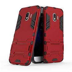 Custodia Silicone e Plastica Opaca con Supporto per Samsung Galaxy J2 Pro (2018) J250F Rosso