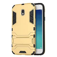 Custodia Silicone e Plastica Opaca con Supporto per Samsung Galaxy J3 (2017) J330F DS Oro
