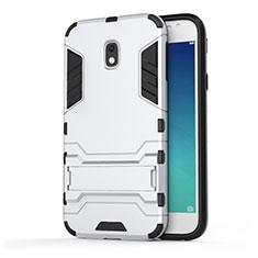 Custodia Silicone e Plastica Opaca con Supporto per Samsung Galaxy J3 Pro (2017) Bianco