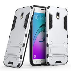 Custodia Silicone e Plastica Opaca con Supporto per Samsung Galaxy J5 (2017) SM-J750F Bianco