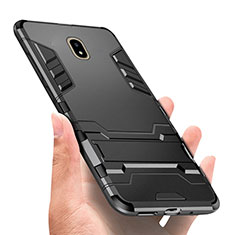 Custodia Silicone e Plastica Opaca con Supporto per Samsung Galaxy J5 (2017) SM-J750F Nero