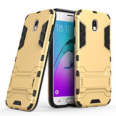 Custodia Silicone e Plastica Opaca con Supporto per Samsung Galaxy J5 (2017) SM-J750F Oro