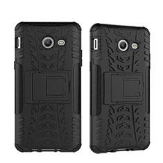 Custodia Silicone e Plastica Opaca con Supporto per Samsung Galaxy J5 (2017) Version Americaine Nero