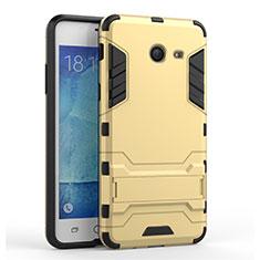 Custodia Silicone e Plastica Opaca con Supporto per Samsung Galaxy J5 (2017) Version Americaine Oro