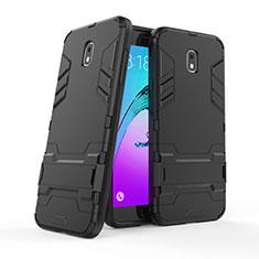 Custodia Silicone e Plastica Opaca con Supporto per Samsung Galaxy J7 (2018) J737 Nero