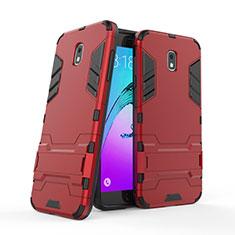 Custodia Silicone e Plastica Opaca con Supporto per Samsung Galaxy J7 (2018) J737 Rosso