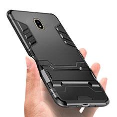 Custodia Silicone e Plastica Opaca con Supporto per Samsung Galaxy J7 Pro Nero