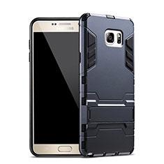 Custodia Silicone e Plastica Opaca con Supporto per Samsung Galaxy Note 5 N9200 N920 N920F Blu