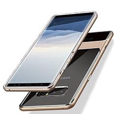 Custodia Silicone e Plastica Opaca con Supporto per Samsung Galaxy Note 8 Duos N950F Oro