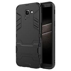 Custodia Silicone e Plastica Opaca con Supporto per Samsung Galaxy On6 (2018) J600F J600G Nero