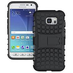 Custodia Silicone e Plastica Opaca con Supporto per Samsung Galaxy S7 Active G891A Nero