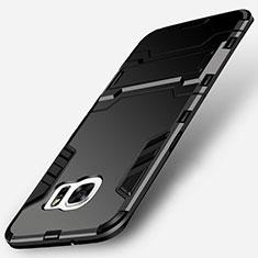 Custodia Silicone e Plastica Opaca con Supporto per Samsung Galaxy S7 Edge G935F Nero