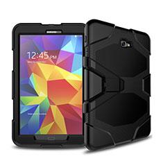 Custodia Silicone e Plastica Opaca con Supporto per Samsung Galaxy Tab A6 10.1 SM-T580 SM-T585 Nero