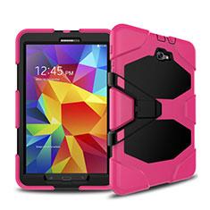 Custodia Silicone e Plastica Opaca con Supporto per Samsung Galaxy Tab A6 10.1 SM-T580 SM-T585 Rosa Caldo