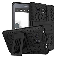 Custodia Silicone e Plastica Opaca con Supporto per Samsung Galaxy Tab A6 7.0 SM-T280 SM-T285 Nero