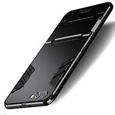 Custodia Silicone e Plastica Opaca con Supporto R01 per Huawei Honor V10 Nero