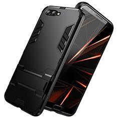 Custodia Silicone e Plastica Opaca con Supporto R01 per Huawei Nova 2S Nero
