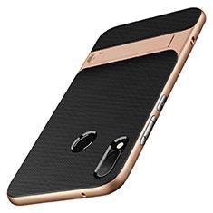 Custodia Silicone e Plastica Opaca con Supporto W01 per Huawei P20 Lite Oro e Nero