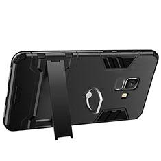 Custodia Silicone e Plastica Opaca con Supporto W01 per Samsung Galaxy A6 (2018) Nero