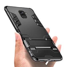 Custodia Silicone e Plastica Opaca con Supporto W01 per Samsung Galaxy A8+ A8 Plus (2018) Duos A730F Nero