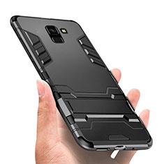 Custodia Silicone e Plastica Opaca con Supporto W01 per Samsung Galaxy J6 (2018) J600F Nero