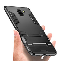 Custodia Silicone e Plastica Opaca con Supporto W01 per Samsung Galaxy On6 (2018) J600F J600G Nero