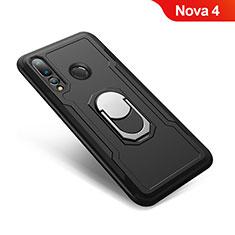 Custodia Silicone e Plastica Opaca Cover con Anello Supporto A01 per Huawei Nova 4 Nero