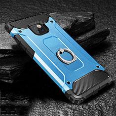 Custodia Silicone e Plastica Opaca Cover con Anello Supporto H01 per Huawei Mate 20 Pro Blu