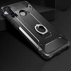 Custodia Silicone e Plastica Opaca Cover con Anello Supporto H01 per Huawei P30 Lite Nero