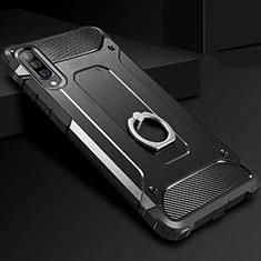 Custodia Silicone e Plastica Opaca Cover con Anello Supporto H01 per Samsung Galaxy A70 Nero