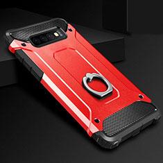 Custodia Silicone e Plastica Opaca Cover con Anello Supporto H01 per Samsung Galaxy S10 Plus Rosso
