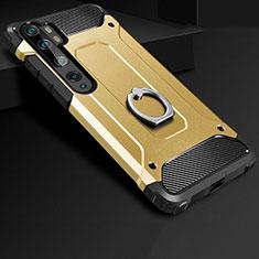 Custodia Silicone e Plastica Opaca Cover con Anello Supporto H01 per Xiaomi Mi Note 10 Oro