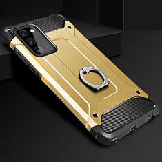 Custodia Silicone e Plastica Opaca Cover con Anello Supporto N01 per Samsung Galaxy Note 20 5G Oro