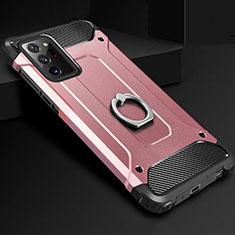 Custodia Silicone e Plastica Opaca Cover con Anello Supporto N01 per Samsung Galaxy Note 20 Ultra 5G Oro Rosa