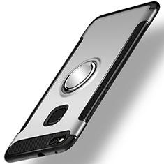 Custodia Silicone e Plastica Opaca Cover con Anello Supporto per Huawei GR3 (2017) Argento