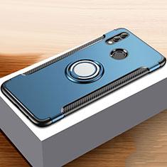Custodia Silicone e Plastica Opaca Cover con Anello Supporto per Huawei Honor 10 Lite Blu