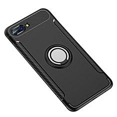 Custodia Silicone e Plastica Opaca Cover con Anello Supporto per Huawei Honor 10 Nero